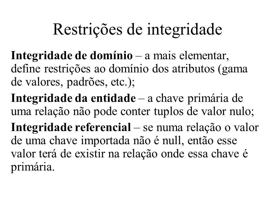 Restrições de integridade Integridade de domínio – a mais elementar, define restrições ao domínio dos atributos (gama de valores, padrões, etc.); Inte