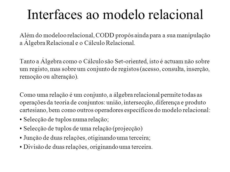 Interfaces ao modelo relacional Além do modeloo relacional, CODD propôs ainda para a sua manipulação a Álgebra Relacional e o Cálculo Relacional. Tant
