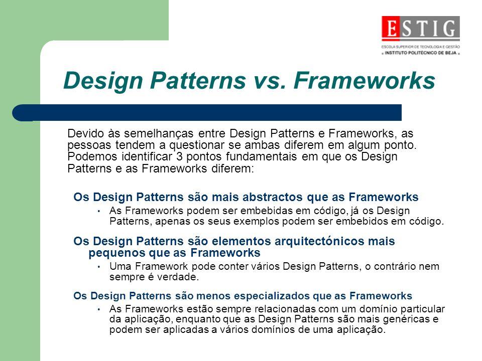 Design Patterns vs. Frameworks Devido às semelhanças entre Design Patterns e Frameworks, as pessoas tendem a questionar se ambas diferem em algum pont