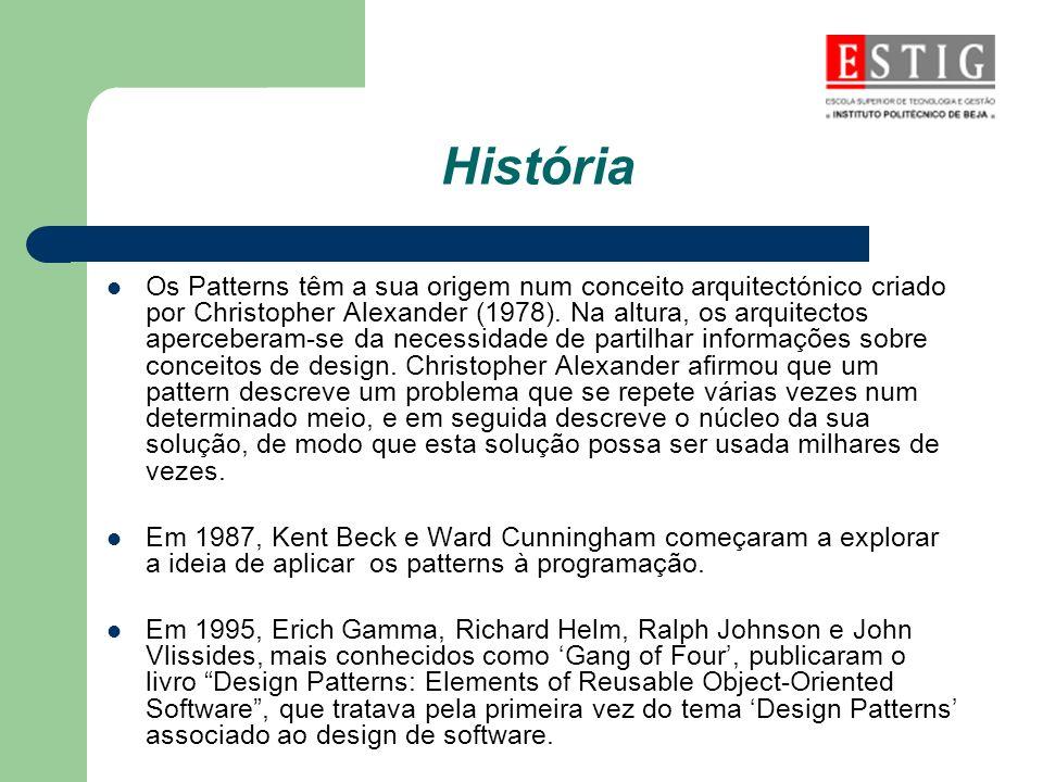 História Os Patterns têm a sua origem num conceito arquitectónico criado por Christopher Alexander (1978). Na altura, os arquitectos aperceberam-se da