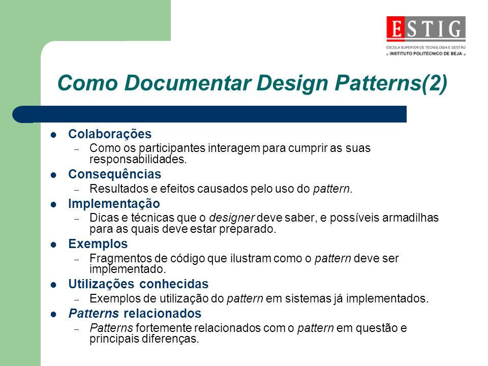 Como Documentar Design Patterns(2) Colaborações – Como os participantes interagem para cumprir as suas responsabilidades. Consequências – Resultados e