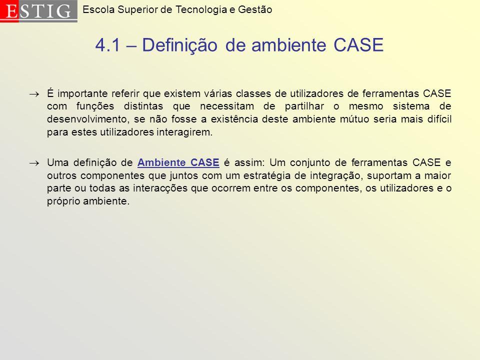 4.1 – Definição de ambiente CASE É importante referir que existem várias classes de utilizadores de ferramentas CASE com funções distintas que necessi