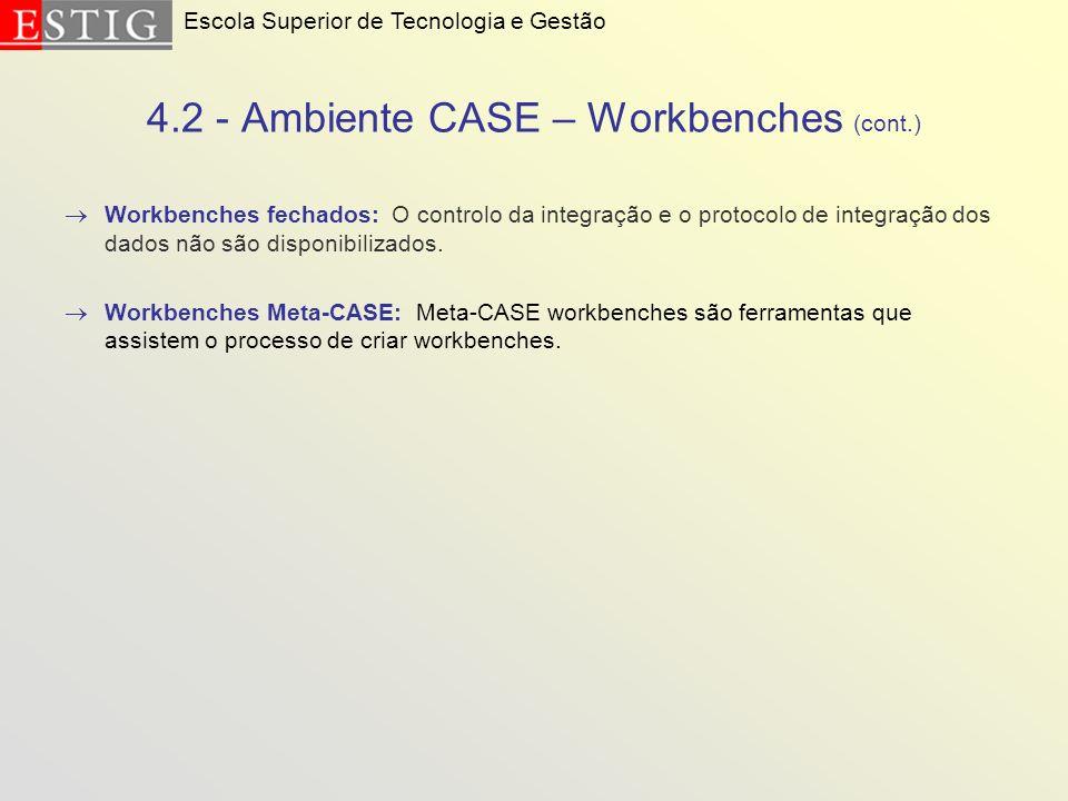 4.2 - Ambiente CASE – Workbenches (cont.) Workbenches fechados: O controlo da integração e o protocolo de integração dos dados não são disponibilizado