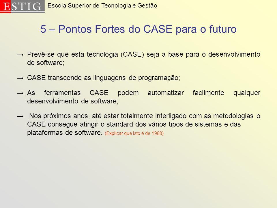 5 – Pontos Fortes do CASE para o futuro Prevê-se que esta tecnologia (CASE) seja a base para o desenvolvimento de software; CASE transcende as linguag
