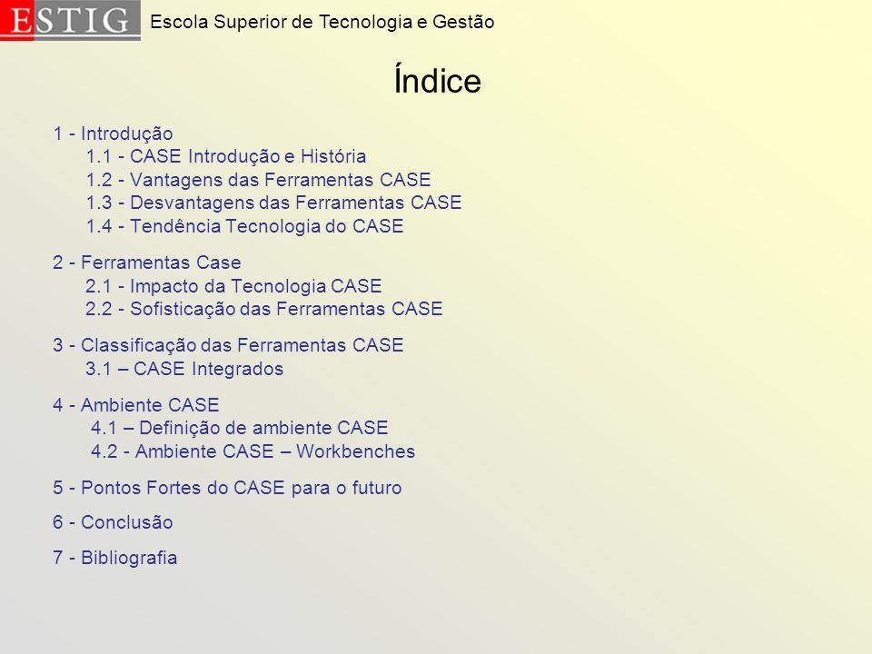 Índice 1 - Introdução 1.1 - CASE Introdução e História 1.2 - Vantagens das Ferramentas CASE 1.3 - Desvantagens das Ferramentas CASE 1.4 - Tendência Te