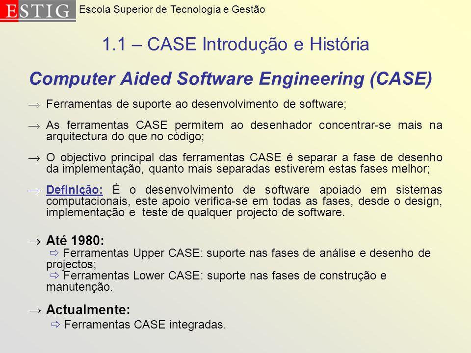 1.1 – CASE Introdução e História Computer Aided Software Engineering (CASE) Ferramentas de suporte ao desenvolvimento de software; As ferramentas CASE