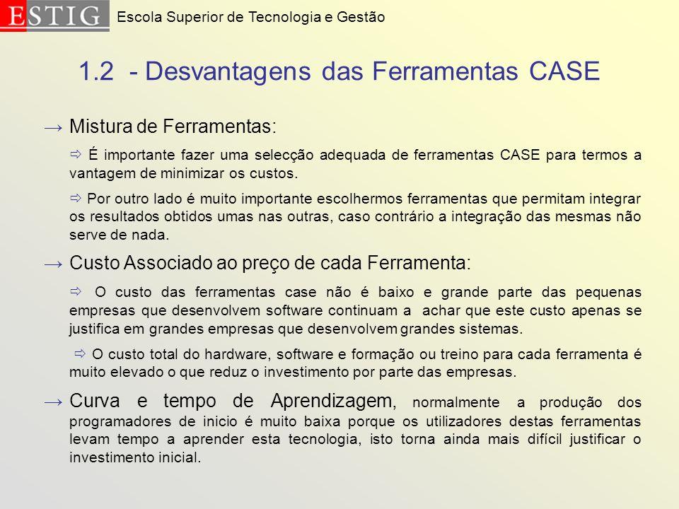 1.2 - Desvantagens das Ferramentas CASE Mistura de Ferramentas: É importante fazer uma selecção adequada de ferramentas CASE para termos a vantagem de