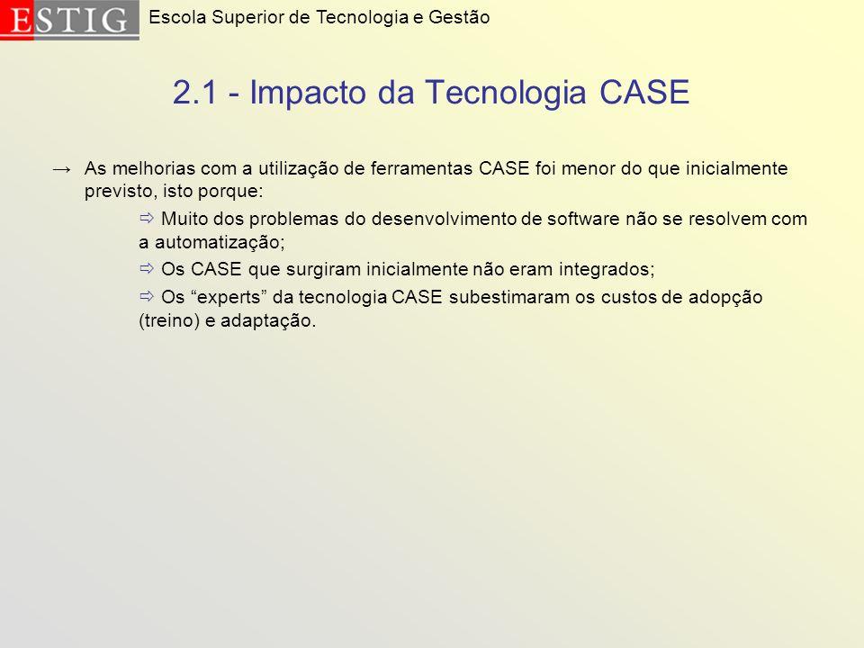 2.1 - Impacto da Tecnologia CASE As melhorias com a utilização de ferramentas CASE foi menor do que inicialmente previsto, isto porque: Muito dos prob