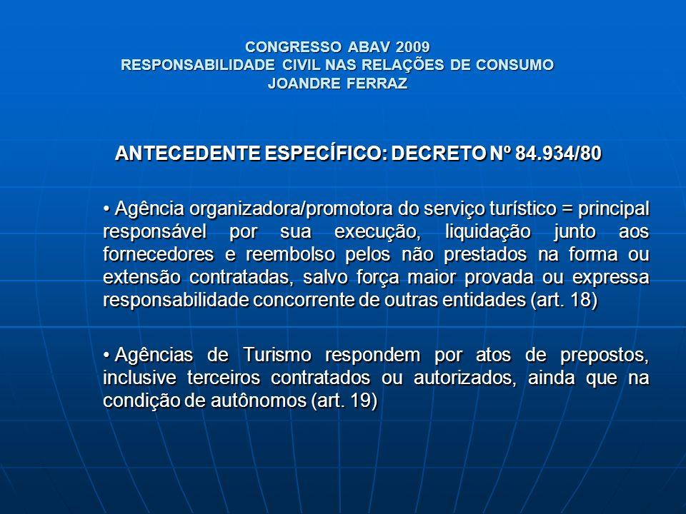 CONGRESSO ABAV 2009 RESPONSABILIDADE CIVIL NAS RELAÇÕES DE CONSUMO JOANDRE FERRAZ ANTECEDENTE ESPECÍFICO: DECRETO Nº 84.934/80 Agência organizadora/pr