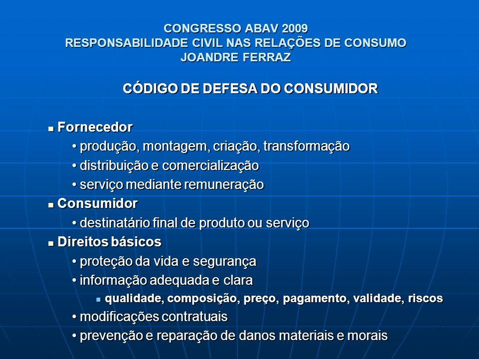 CONGRESSO ABAV 2009 RESPONSABILIDADE CIVIL NAS RELAÇÕES DE CONSUMO JOANDRE FERRAZ CÓDIGO DE DEFESA DO CONSUMIDOR Fornecedor Fornecedor produção, monta