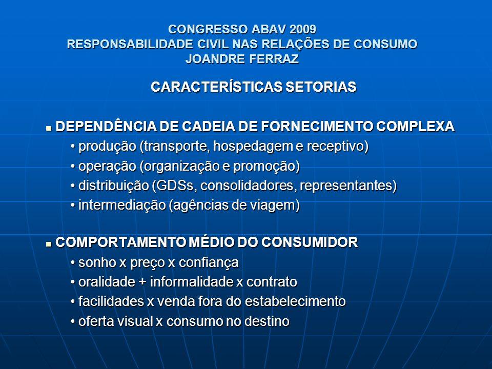 CONGRESSO ABAV 2009 RESPONSABILIDADE CIVIL NAS RELAÇÕES DE CONSUMO JOANDRE FERRAZ CARACTERÍSTICAS SETORIAS DEPENDÊNCIA DE CADEIA DE FORNECIMENTO COMPL