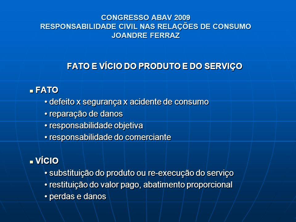 CONGRESSO ABAV 2009 RESPONSABILIDADE CIVIL NAS RELAÇÕES DE CONSUMO JOANDRE FERRAZ FATO E VÍCIO DO PRODUTO E DO SERVIÇO FATO FATO defeito x segurança x