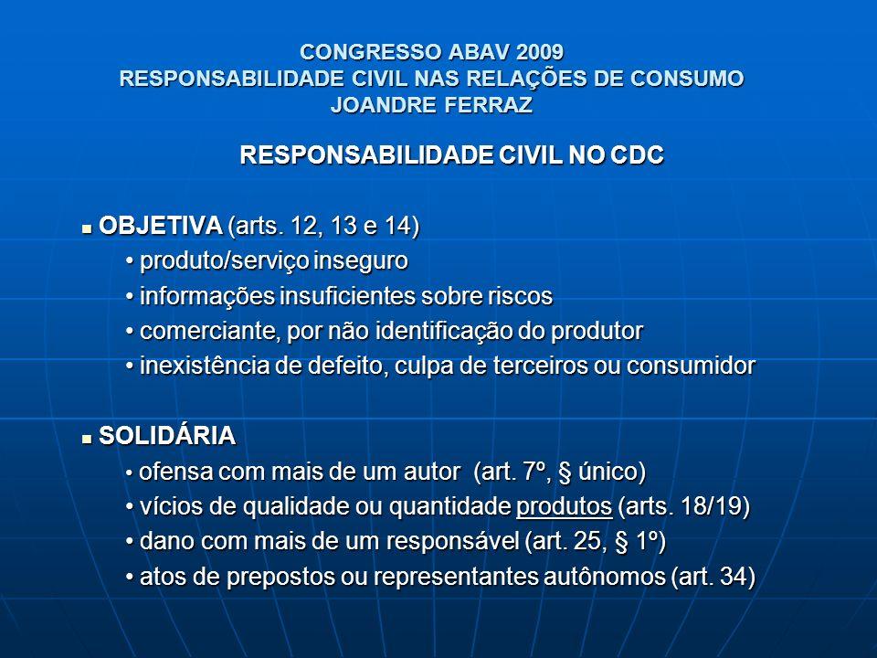 CONGRESSO ABAV 2009 RESPONSABILIDADE CIVIL NAS RELAÇÕES DE CONSUMO JOANDRE FERRAZ RESPONSABILIDADE CIVIL NO CDC OBJETIVA (arts. 12, 13 e 14) OBJETIVA