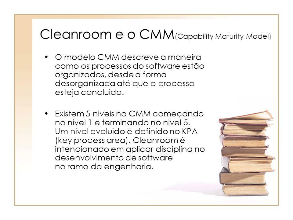 Cleanroom e o CMM (Capability Maturity Model) O modelo CMM descreve a maneira como os processos do software estão organizados, desde a forma desorgani