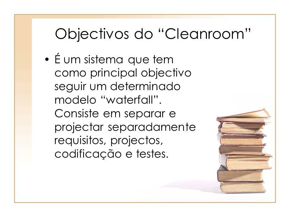 Objectivos do Cleanroom É um sistema que tem como principal objectivo seguir um determinado modelo waterfall. Consiste em separar e projectar separada