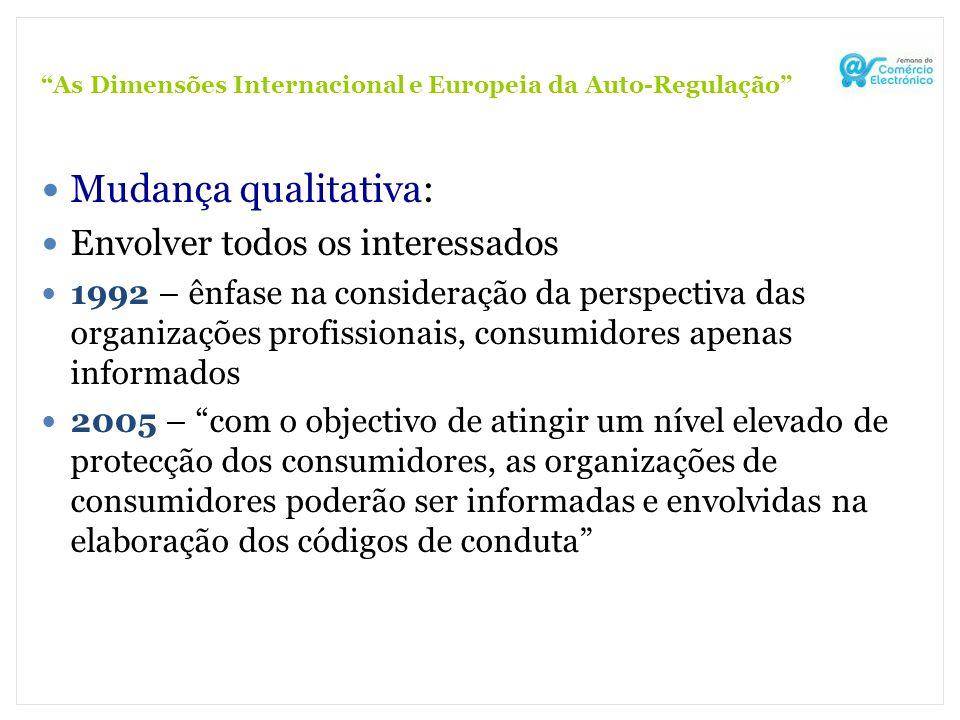 As Dimensões Internacional e Europeia da Auto-Regulação Mudança qualitativa: Envolver todos os interessados 1992 – ênfase na consideração da perspecti