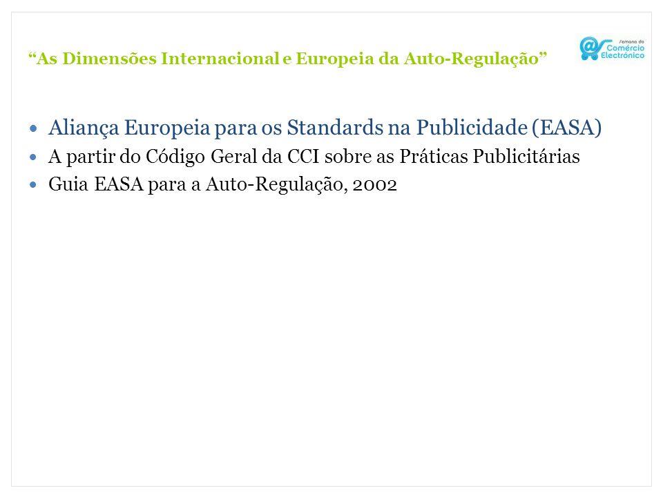 As Dimensões Internacional e Europeia da Auto-Regulação Aliança Europeia para os Standards na Publicidade (EASA) A partir do Código Geral da CCI sobre