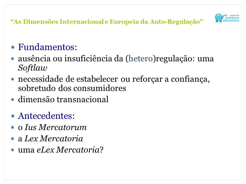 As Dimensões Internacional e Europeia da Auto-Regulação Fundamentos: ausência ou insuficiência da (hetero)regulação: uma Softlaw necessidade de estabe