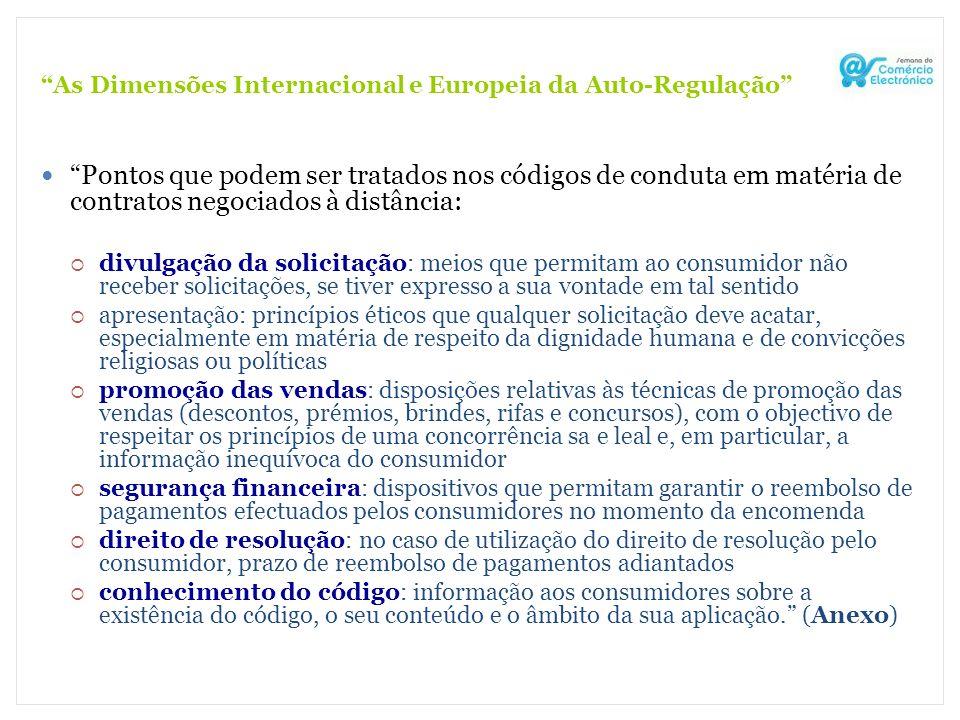 As Dimensões Internacional e Europeia da Auto-Regulação Pontos que podem ser tratados nos códigos de conduta em matéria de contratos negociados à dist