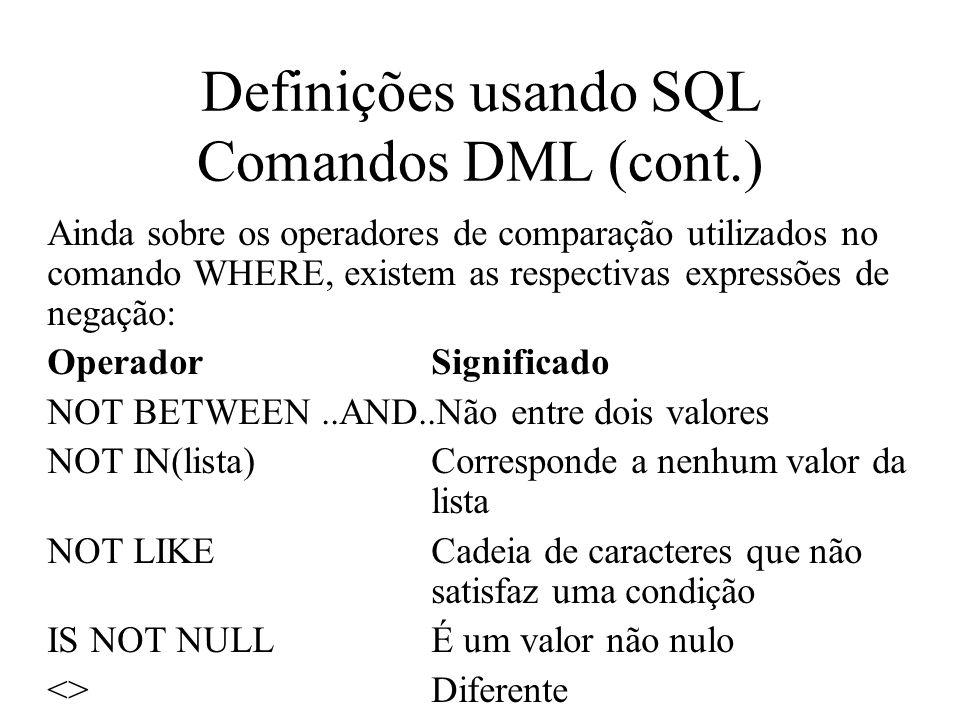 Ainda sobre os operadores de comparação utilizados no comando WHERE, existem as respectivas expressões de negação: OperadorSignificado NOT BETWEEN..AN