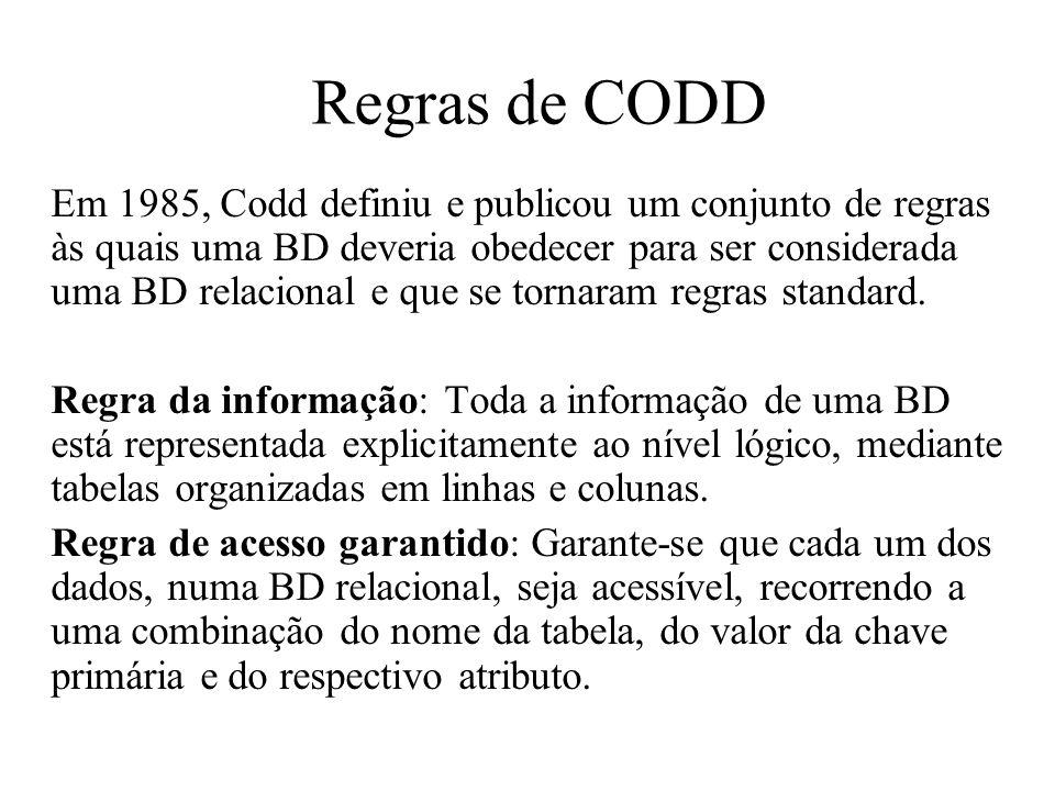 Regras de CODD Em 1985, Codd definiu e publicou um conjunto de regras às quais uma BD deveria obedecer para ser considerada uma BD relacional e que se