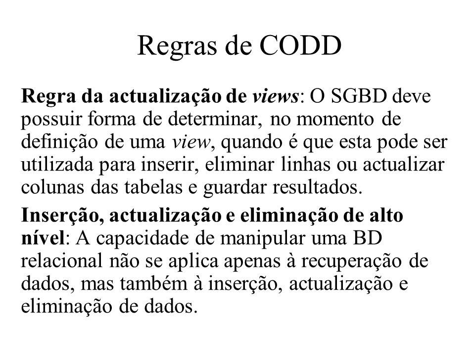 Regra da actualização de views: O SGBD deve possuir forma de determinar, no momento de definição de uma view, quando é que esta pode ser utilizada par