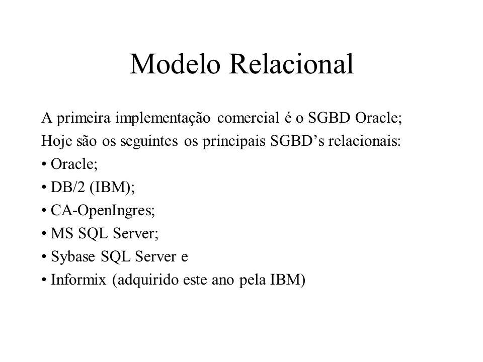 A primeira implementação comercial é o SGBD Oracle; Hoje são os seguintes os principais SGBDs relacionais: Oracle; DB/2 (IBM); CA-OpenIngres; MS SQL S