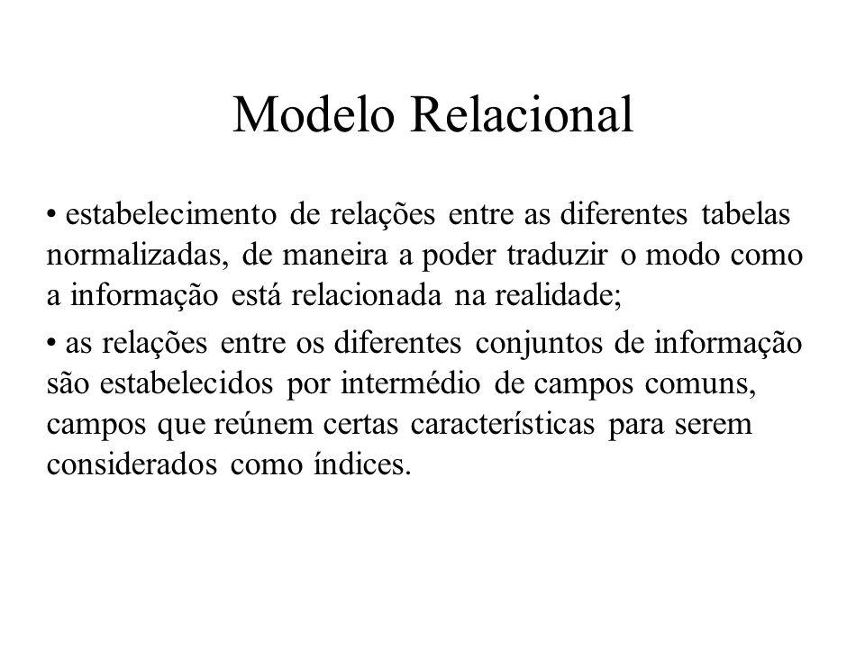 estabelecimento de relações entre as diferentes tabelas normalizadas, de maneira a poder traduzir o modo como a informação está relacionada na realida