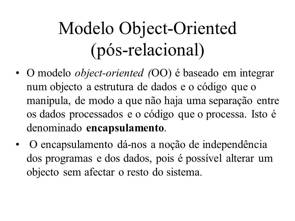 Modelo Object-Oriented (pós-relacional) O modelo object-oriented (OO) é baseado em integrar num objecto a estrutura de dados e o código que o manipula