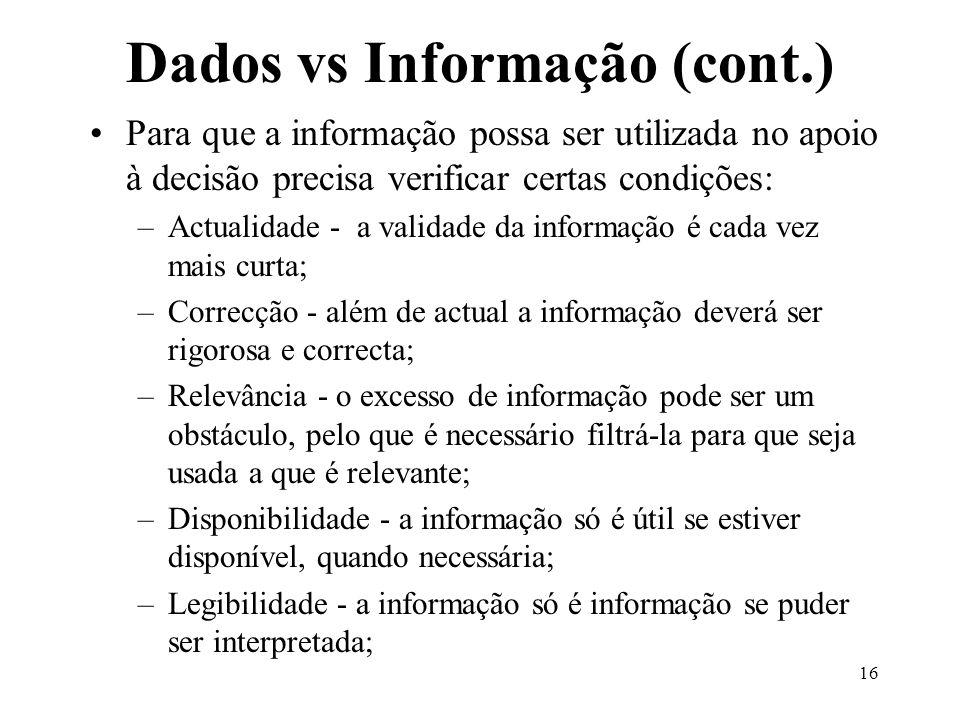 16 Dados vs Informação (cont.) Para que a informação possa ser utilizada no apoio à decisão precisa verificar certas condições: –Actualidade - a valid
