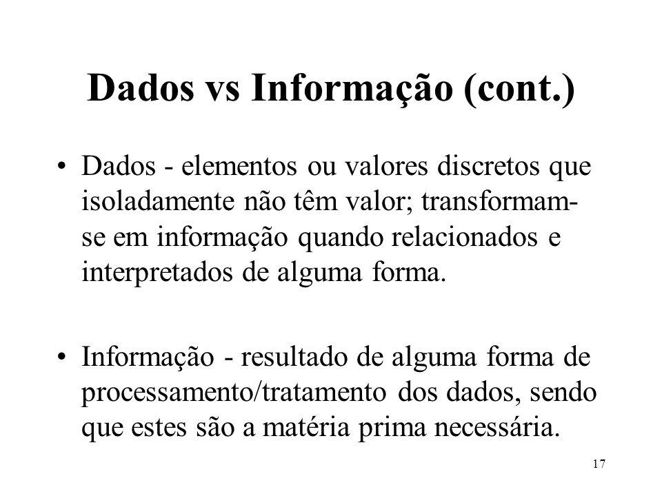 17 Dados vs Informação (cont.) Dados - elementos ou valores discretos que isoladamente não têm valor; transformam- se em informação quando relacionado