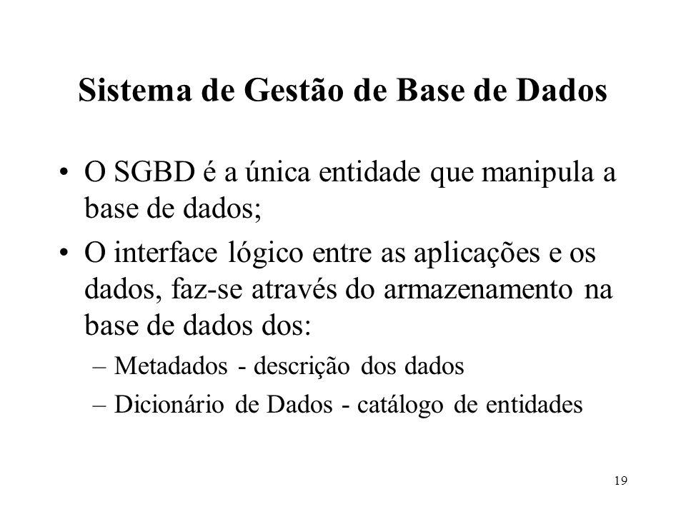 19 O SGBD é a única entidade que manipula a base de dados; O interface lógico entre as aplicações e os dados, faz-se através do armazenamento na base