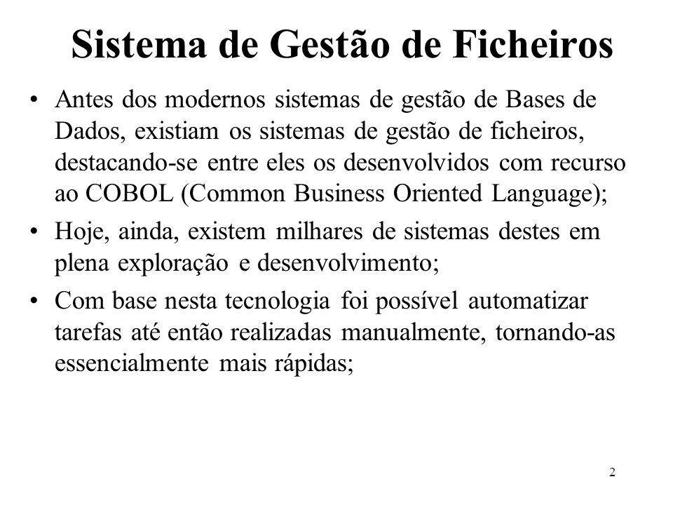 2 Sistema de Gestão de Ficheiros Antes dos modernos sistemas de gestão de Bases de Dados, existiam os sistemas de gestão de ficheiros, destacando-se e