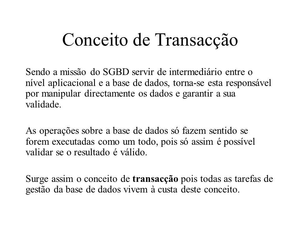 Conceito de Transacção Sendo a missão do SGBD servir de intermediário entre o nível aplicacional e a base de dados, torna-se esta responsável por mani