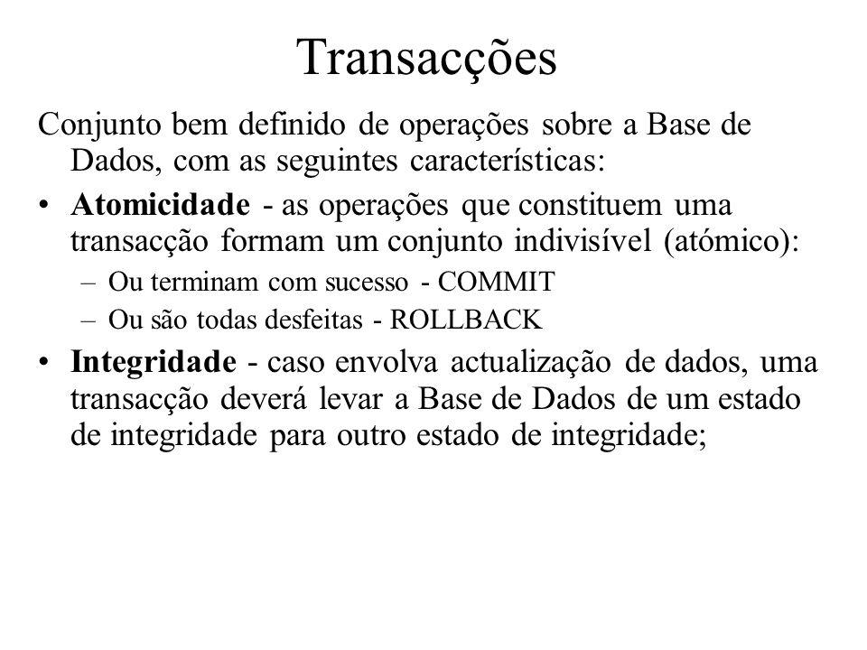 Transacções Conjunto bem definido de operações sobre a Base de Dados, com as seguintes características: Atomicidade - as operações que constituem uma