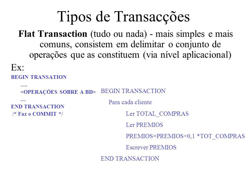 Tipos de Transacções Flat Transaction (tudo ou nada) - mais simples e mais comuns, consistem em delimitar o conjunto de operações que as constituem (v