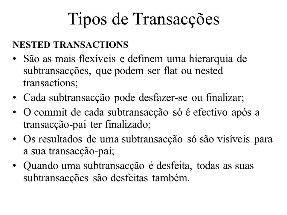 Tipos de Transacções NESTED TRANSACTIONS São as mais flexíveis e definem uma hierarquia de subtransacções, que podem ser flat ou nested transactions;