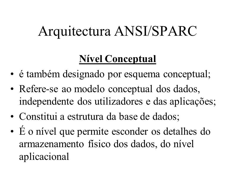 Nível Conceptual é também designado por esquema conceptual; Refere-se ao modelo conceptual dos dados, independente dos utilizadores e das aplicações;