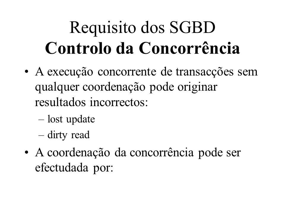 A execução concorrente de transacções sem qualquer coordenação pode originar resultados incorrectos: –lost update –dirty read A coordenação da concorr