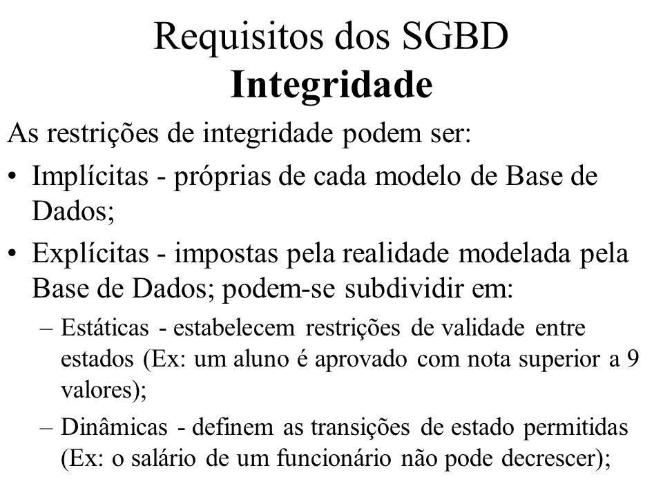 As restrições de integridade podem ser: Implícitas - próprias de cada modelo de Base de Dados; Explícitas - impostas pela realidade modelada pela Base