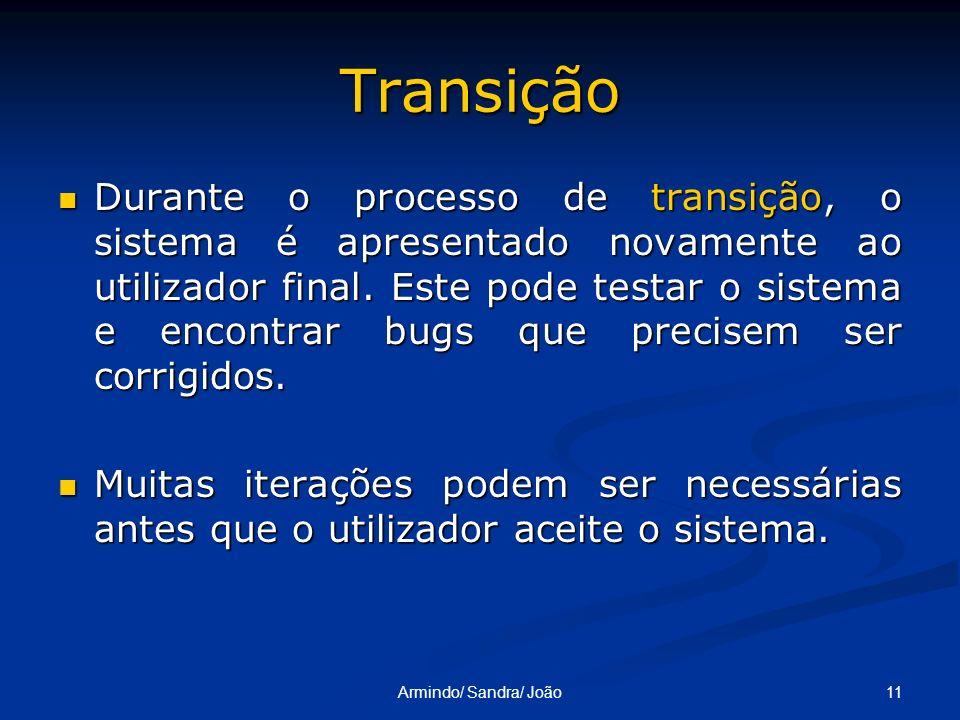 11Armindo/ Sandra/ João Transição Durante o processo de transição, o sistema é apresentado novamente ao utilizador final. Este pode testar o sistema e
