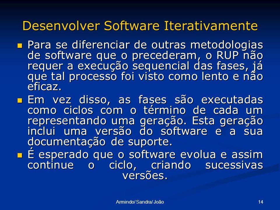 14Armindo/ Sandra/ João Desenvolver Software Iterativamente Para se diferenciar de outras metodologias de software que o precederam, o RUP não requer