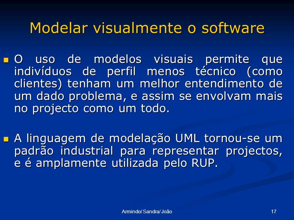 17Armindo/ Sandra/ João Modelar visualmente o software O uso de modelos visuais permite que indivíduos de perfil menos técnico (como clientes) tenham