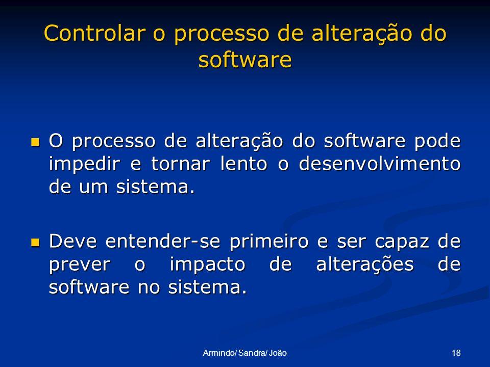 18Armindo/ Sandra/ João Controlar o processo de alteração do software O processo de alteração do software pode impedir e tornar lento o desenvolviment