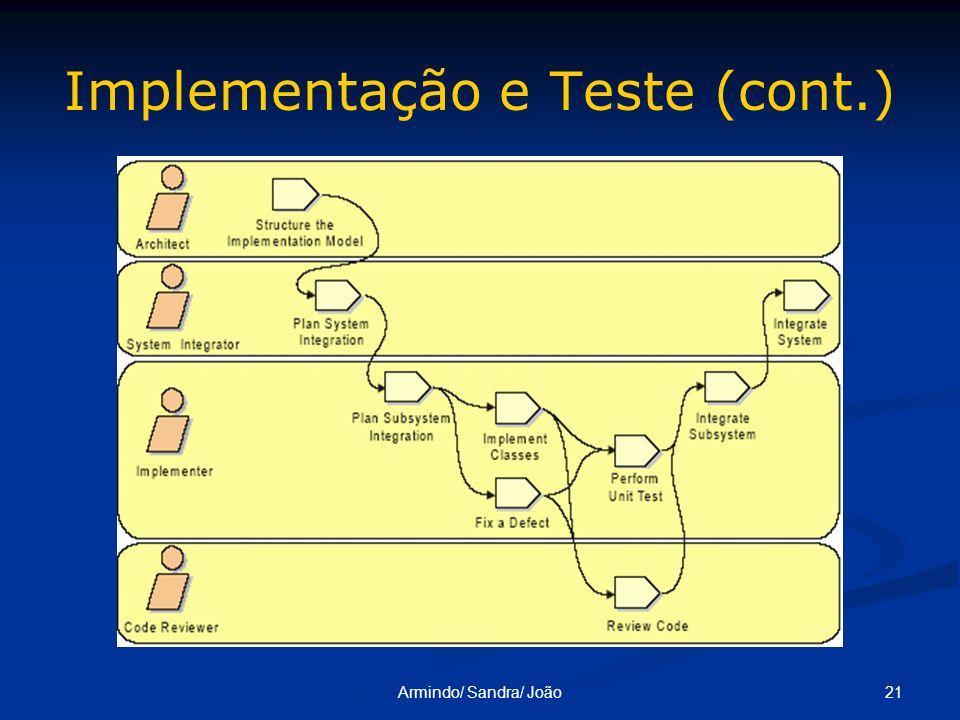 21Armindo/ Sandra/ João Implementação e Teste (cont.)
