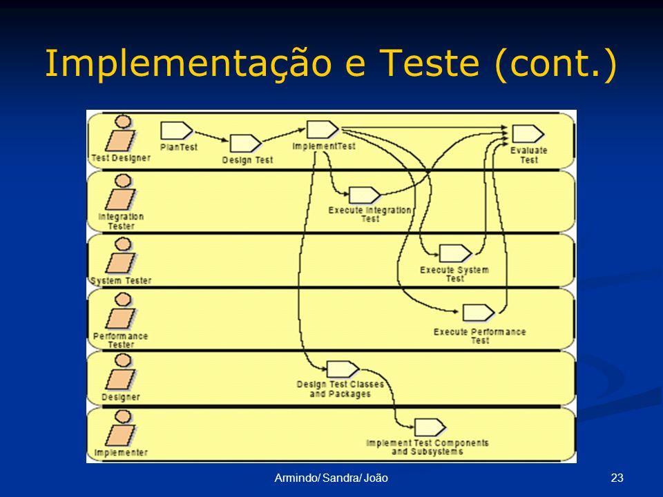 23Armindo/ Sandra/ João Implementação e Teste (cont.)