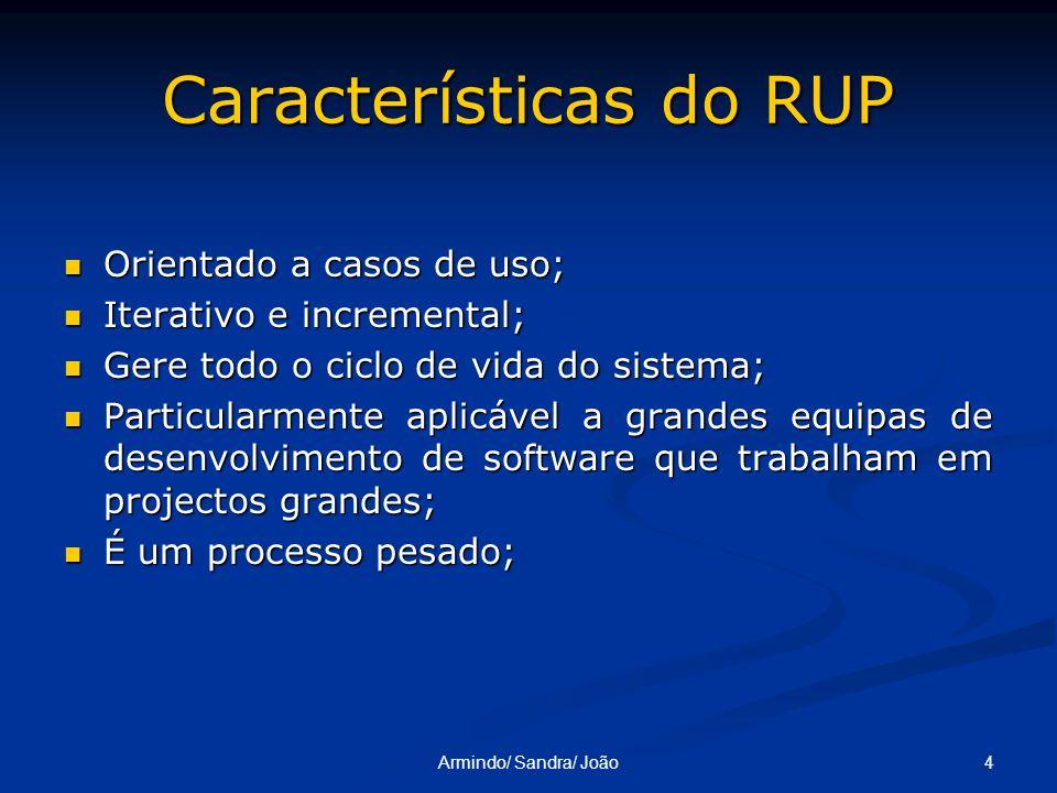 4Armindo/ Sandra/ João Características do RUP Orientado a casos de uso; Orientado a casos de uso; Iterativo e incremental; Iterativo e incremental; Ge