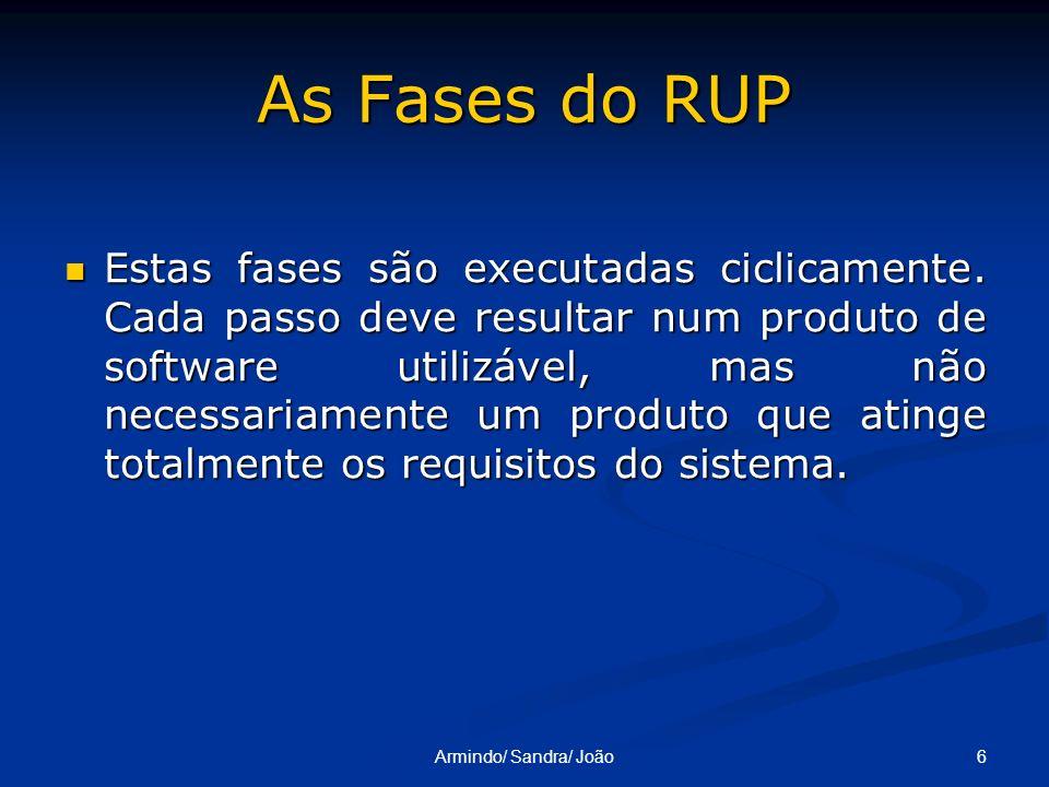 6Armindo/ Sandra/ João As Fases do RUP Estas fases são executadas ciclicamente. Cada passo deve resultar num produto de software utilizável, mas não n