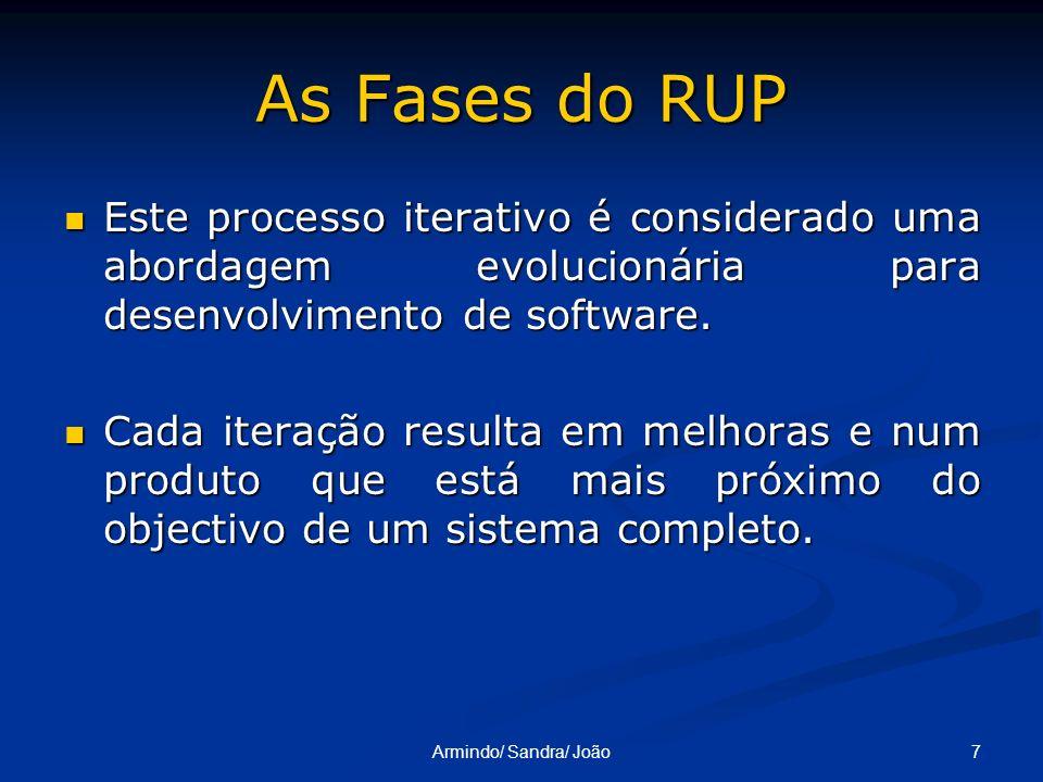 7Armindo/ Sandra/ João As Fases do RUP Este processo iterativo é considerado uma abordagem evolucionária para desenvolvimento de software. Este proces