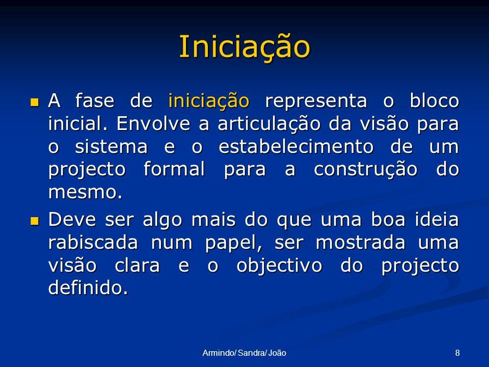 8Armindo/ Sandra/ João Iniciação A fase de iniciação representa o bloco inicial. Envolve a articulação da visão para o sistema e o estabelecimento de